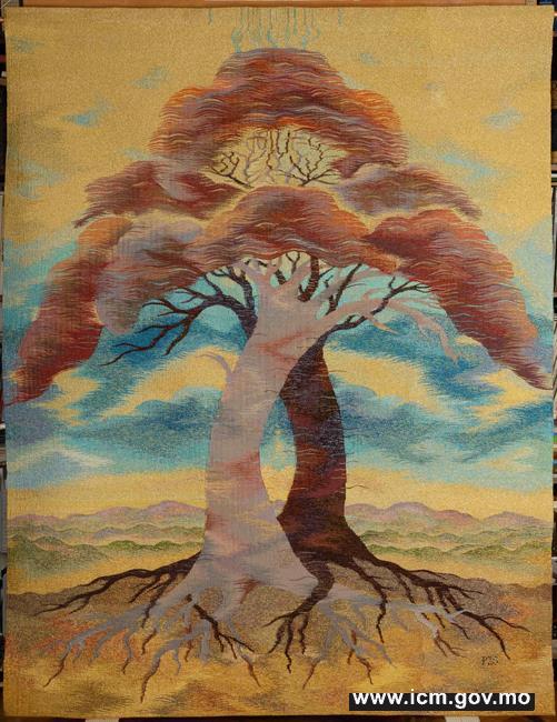 20190610100208_04-世界之軸(2010-2011) 蘇莎.佩維利 壁飾掛毯,羊毛、絲綢、金屬、金線   180x140厘米